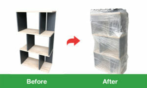 大型家具 緩衝材+ストレッチ包装サンプル