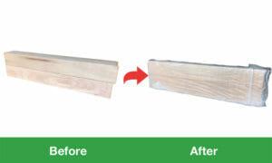 木材 緩衝材+ストレッチ包装サンプル