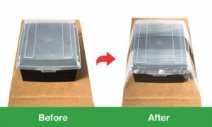 プラ容器へのトレー包装サンプル